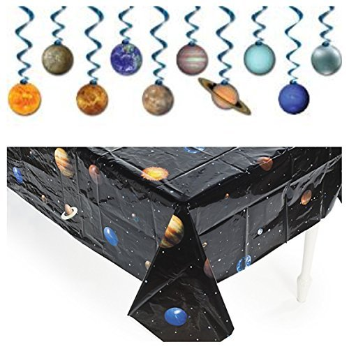 Solar System - OUTER Space PARTY Decorations - TABLECLOTH -Dangling SWIRLS - Planet DECOR - Science -