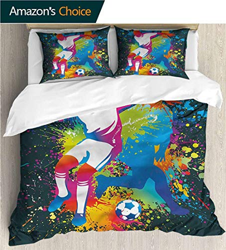 - Home Duvet Cover Set,Box Stitched,Soft,Breathable,Hypoallergenic,Fade Resistant Print Quilt Cover Set White Queen Pattern Bedding Collection-Boys Room Two Soccer Players (80