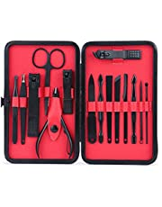 Mens Manicure Set - WoneNice 15 In 1 Stainless Steel Professional Pedicure Kit with Black Leather Travel Case, Gift for Father's Day