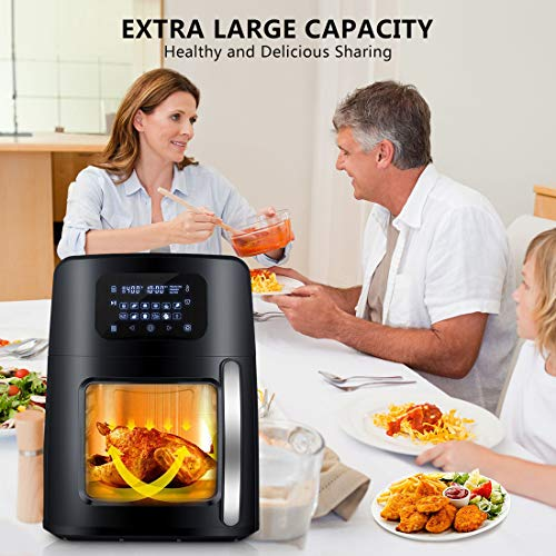 12.4Qt XL Air Fryer Oven with Large Viewing Window, 12-in-1 Programmable Electric Hot Deep Fryer Combine with Food Dehydrator, LED Touchscreen, 7-Piece Accessories, Rotisserie, Auto Stirring - 1700W by WELTPACKEN (Image #5)