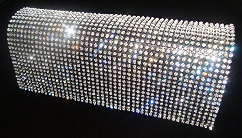 Shimmering Diamante Encrusted Evening bag Clutch Purse Party Wedding (BLACK)