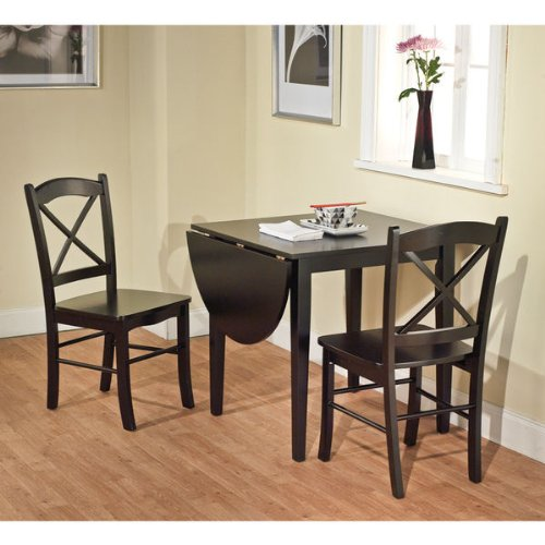 Black 3-piece Country Cottage Dining Set Table and 2 Chairs ()