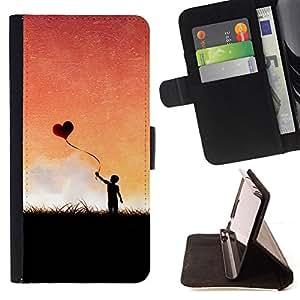 BullDog Case - FOR/Samsung Galaxy S5 Mini, SM-G800 / - / heart love balloon romance boy sky romance /- Monedero de cuero de la PU Llevar cubierta de la caja con el ID Credit Card Slots Flip funda de cuer