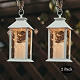 14'' Tall christmas Candle Lantern with 4 Hours Timer.30 LEDS Copper Wire String Light (3 AAA Batteries Inclulded) Hanging for Indoor&Outdoor Using Decorative-candle-lanterns Evermore Light (set of 2)