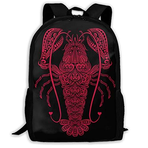 Lobster Pattern Backpack Laptop Bags Shoulder Bag College Daypack Backpacks for Unisex