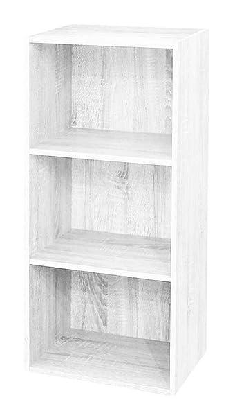 Scaffali Componibili Colorati.Antonashop Libreria Colorata Componibile Modulare Legno Mdf Laminato Mobile Scaffale Bianco Frassinato
