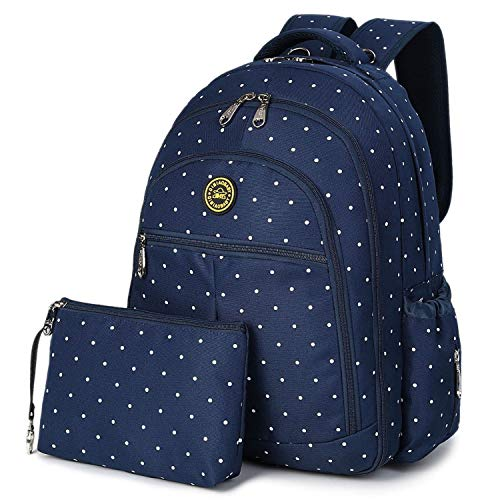 QIMIAOBABY Diaper Bag Smart Organizer Waterproof Travel Diaper Backpack Handbag with Changing Pad and Stroller Clips and Carry Pouch (Blue dots)
