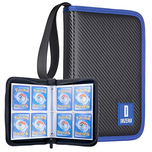 DRZERUI Carrying Case Compatible with Pokemon Trading Cards, Cards Collectors Album with 20 Premium 4-Pocket Pages, Holds Up to 320 Cards (Black Version)