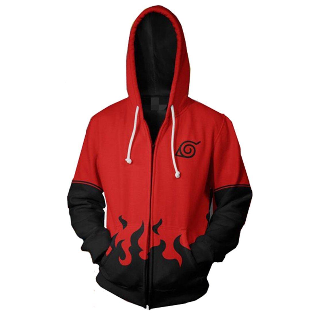 CHENMA Men Naruto Naruto Kakashi Long Sleeve Full-Zip Bomber Jacket Hooded Varsity Jacket (M/US S, Hokage) by CHENMA