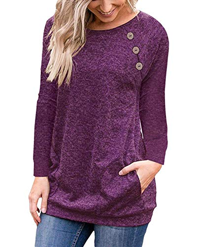 - Purple Red Women Casual Long Sleeve Button T-Shirt Tunic Top Solid Blouse Pocket, MEDIUM
