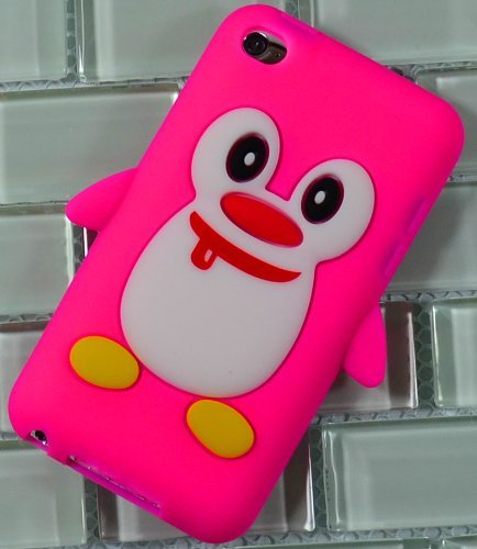 s Silicone Animal Case for Apple Ipod Touch 4th Generation - Baby Pink 3d Penguin Cover ()