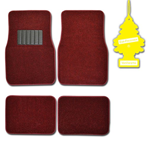 BDK Burgundy 4 Pc Universal Carpet Car Mats w/ Heel Pad + Little Tree Vanilla