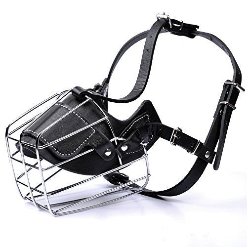 MyfatBOSS Dog Muzzle, Adjustable Wire Leather Basket Mask for Anti-Bite, Soft Dog Bark Muzzle for Medium/Large Size (L)