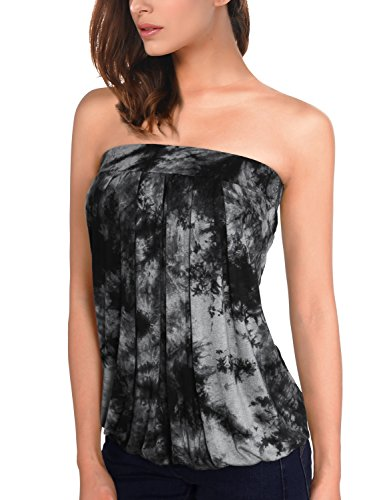 DJT Women's Tie Dye Sleeveless Stretchy Pleated Tube Top Large Tie Dye_Black