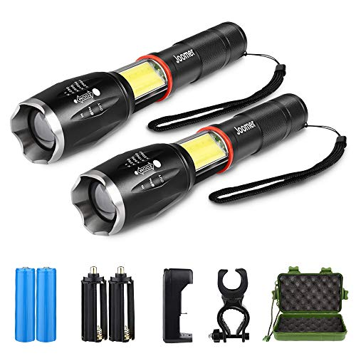 Tactical Flashlight 2 Pack - Torch Flashlight Handheld LED Flashlight - Ultra Bright Zoomable with 6 Modes - Battery & Charger & Bicycle Mount Included - Waterproof COB Flashlight for Hiking Camping