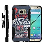 MINITURTLE Case Compatible w/ Case for Samsung Galaxy S7 Edge |[Armor Reloaded] Rugged Impact Hard Rubber Durable Unique Creative Cover + Belt Clip, Blue College Sports