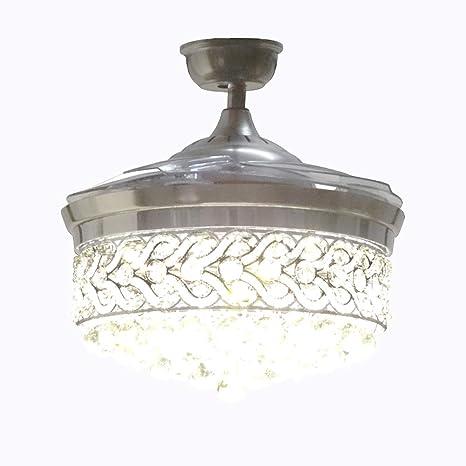 Reverse Fan Crystal Chandelier Ceiling Fan With Light