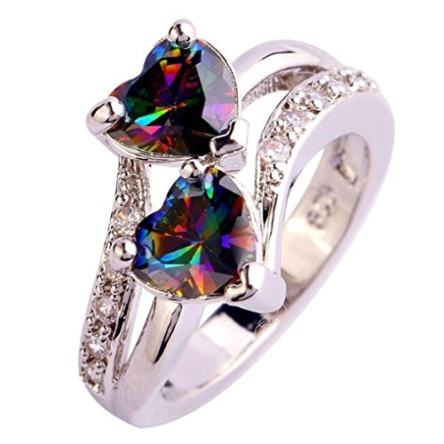 AIMTOPPY Fashion Lover Jewelry Heart Cut Rainbow & White Topaz Gemstone Silver Ring (US:6, Multicolor)