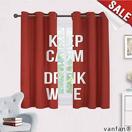 LQQBSTORAGE Keep Calm,Bedroom Curtains 2 Panel Sets,Wine Theme with A Bottle and Two Glasses Popular Slogan About Alcoholic Drink,Complete Darkness,Noise Reducing Curtain,Ruby White