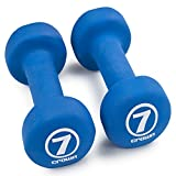 Pair of 7lb Neoprene Coated Body Sculpting Hand Weights - Includes Bonus Jump Rope!