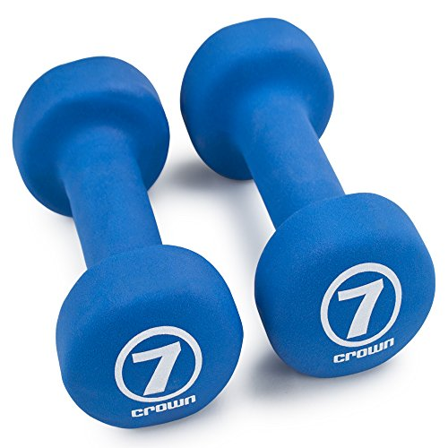 Pair of Neoprene Body Sculpting Hand Weights by Crown Sporting Goods (7 LB)