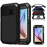 Galaxy S6 Case, Seacosmo Full Body Dual Layer Case Heavy Duty Bumper Cover with Built-in screen protector for Samsung Galaxy S6, Black