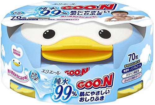 GOO.N Premium Qualität Made in Japan Baby Feuchttücher Pinguin-Box, 70 Tücher