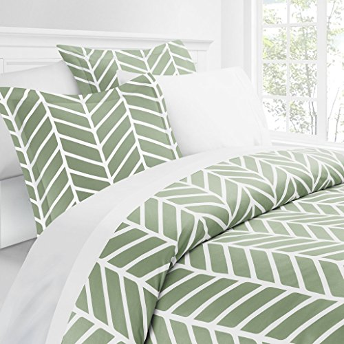 Italian Luxury Herringbone Pattern Duvet Cover Set - 3-Piece Ultra Soft Double Brushed Microfiber Printed Cover with Shams - Full/Queen - Sage/White
