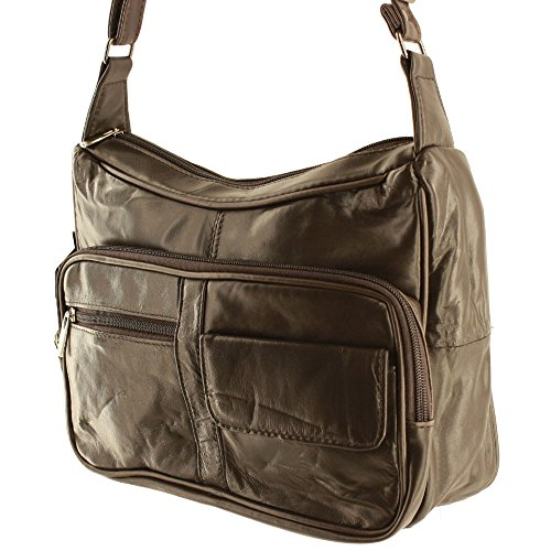 dc0958a8e4 Silver Fever Medium Handbag - Soft Genuine Leather - Ladies Shoulder Daily  Organizer (Dark Brown