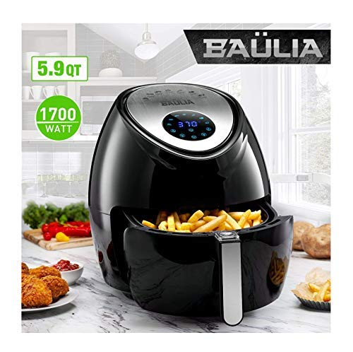 Baulia AF811 Fryer 5.9qt - Easy to Use Digital Air Machine Healthy, Nutritious Food with No Oil - LCD Screen Control - Insulated Handle - Removable Cooking Basket, Black