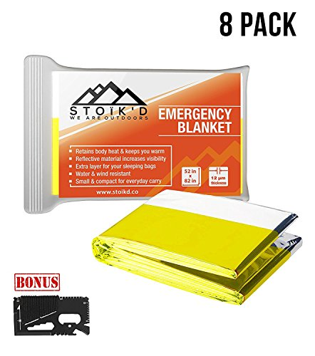 Emergency Blanket - (Pack of 8 Space Blankets) w/ FREE 14-in-1 Credit Card Survival Tool & Survival Blanket eBook - For Survival, Emergency, First Aid Kits, Survival Kit, Car Emergency Kit (Olive)