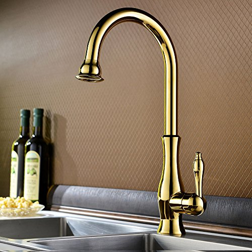 KunMai Traditional Solid Brass Single Handle One Hole Gooseneck 360-Degree Swivel Spout Kitchen Sink Faucet (Gold)