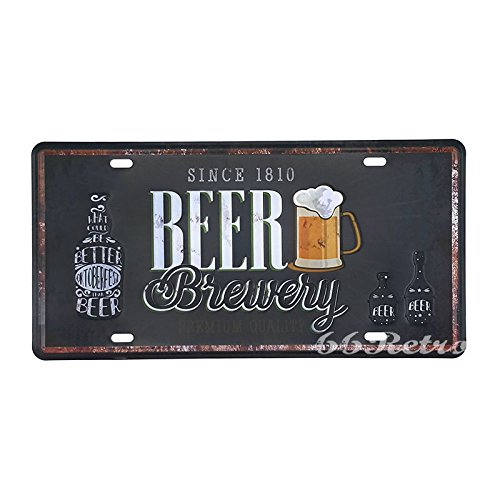66Retro Beer Brewry Since 1810, Embossed Vintage Tin Sign, Retro Auto License Plate, 30cm x 15cm