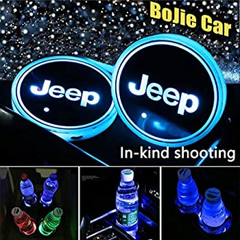 LED Cup Holder Lights Aswelly 2PCS Car Logo Cup Coaster 7 Colors RGB Switchable Waterproof Car Pad Interior Atmosphere Lamp for JEEP