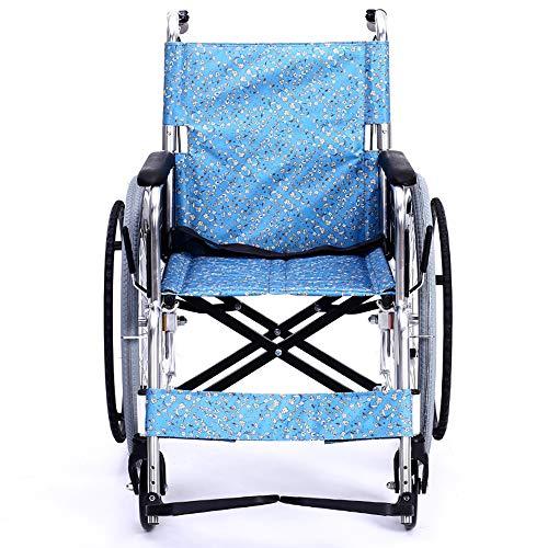 Aluminum Transport Wheelchair Fixed Arm with Handbrake Widening Folding Folding Lightweight Foldable Wheelchair Cushion for Storage and Transportation
