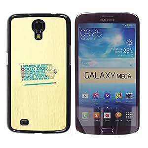 Caucho caso de Shell duro de la cubierta de accesorios de protección BY RAYDREAMMM - Samsung Galaxy Mega 6.3 I9200 SGH-i527 - Design Believe God Good Happy Quote