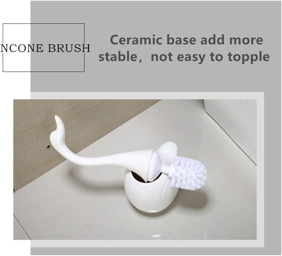 Swan Shape TPR Bristles Ceramic Base Bathroom Cleaning Bowl Brush Kit Toilet Brush with Holder Set