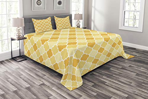 - Ambesonne Quatrefoil Bedspread, Age-Old Trellis Pattern in The Shades of Yellow Historical Eastern, Decorative Quilted 3 Piece Coverlet Set with 2 Pillow Shams, King Size, Marigold Mustard