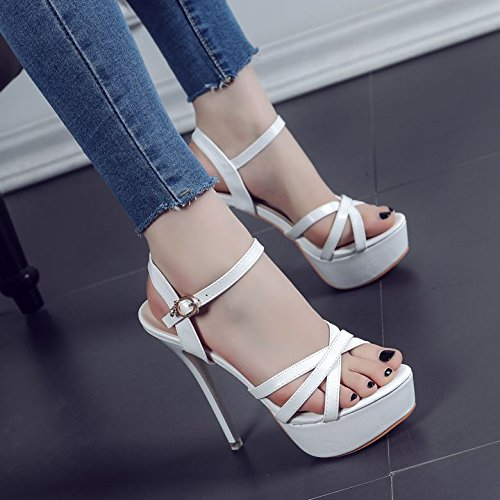 De White 1769 Verano Blancos Zapatos Tacón Negro La Con Punta Hebilla Delgada Coincide 63 Todo Sandalias Con ZHUDJ Palabra aBqTEwRa