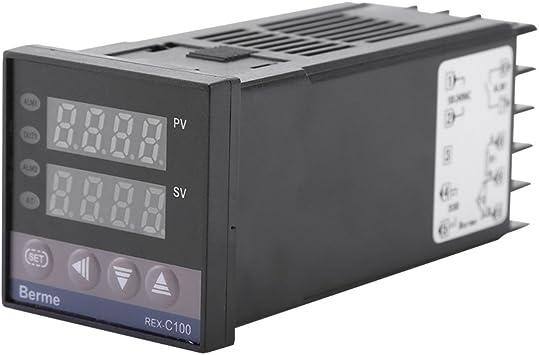 Alimentos Moldeo por Inyecci/ón 0 ℃ ~ 1300 ℃ Alarma REX-C100 Kits de Controlador de Temperatura PID LED Digital para Energ/ía El/éctrica Industria Qu/ímica Termostato Digital AC110V-240V