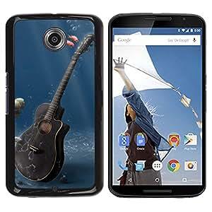 TopCaseStore / la caja del caucho duro de la cubierta de protección de la piel - Music Guitar - Motorola NEXUS 6 / X / Moto X Pro