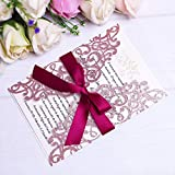 PONATIA 25PCS Laser Cut Hollow Rose Drill Invitation Card Wedding Bridal Shower Engagement Birthday Graduation Invitation Cards (Rose Gold Glitter + Burgundy Ribbon)