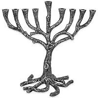 Menorah Tree of Life Rustic Pewter Finish For Hanukkah