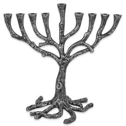 (Menorah Tree of Life Rustic Pewter Finish For Hanukkah )