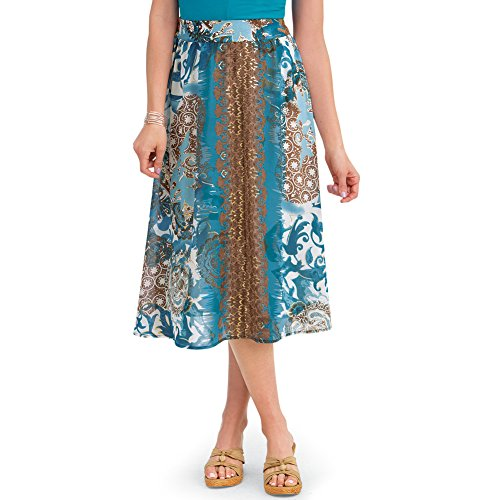 Women's Scroll Medallion Print Knee Length Elastic Waist Full Summer Skirt, Turquoise, X-Large