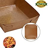 Paper Food Tray, Extra Kraft Paper Food Tray Fast Food Tray for Party Favors Takeout Home Use Outdoor  Xmas Presents , 50 PCS