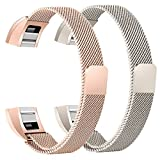bayite For Fitbit Alta HR and Alta Bands Pack of 2, Replacement Milanese Loop Stainless Steel Metal Bands Women Men, Champagne Gold and Rose Gold 6.7'' - 8.1''