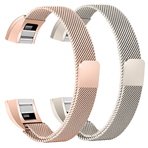 bayite Stainless Steel Bands Compatible Fitbit Alta and Alta HR, Milanese Loop Women Men Pack of 2, Champagne Gold and Rose Gold 5.5 - 6.7