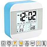 Aitey Alarm Clock for Kids, Talking Alarm Clock with Large Digital Display, 3 Alarms, 7 Rings, Snooze, Optional Weekday Mode and Low Light Sensor Technology for Bedrooms and Office Desk (Blue)