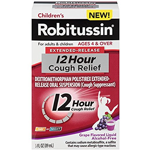 Children's Robitussin Extended Release 12 Hours Cough Relief Liquid, Grape, 3 Fl Oz (Pack of 2)
